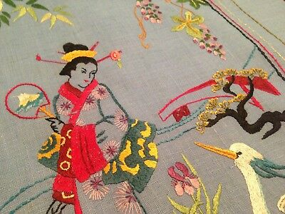 VINTAGE HAND EMBROIDERED PICTURE PANEL – ORIENTAL LADY CRANE and BLOSSOM