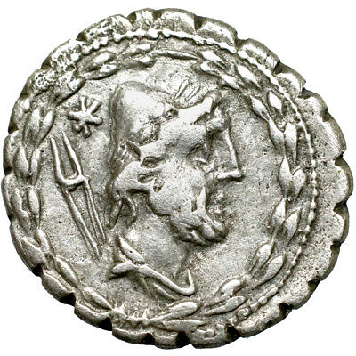 L. Aurelius Cotta. AR serrate denarius. 105 B.C..   Nearly Very Fine..  8067.