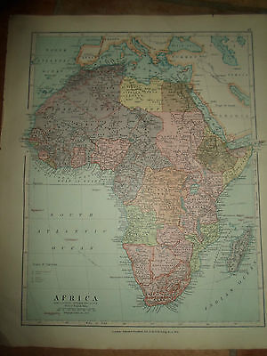 MAP c1920 AFRICA Stanfords London Atlas of Universal Geography