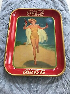 1937 Coca Cola Girl In Bathing Suit Running  On Beach Coke Serving Tray  -  Nice