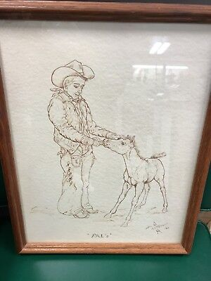 Vintage Original John H. Kittelson drawing Signed & dated 1966 with his logo