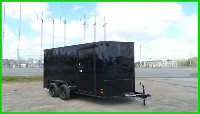 2017 7x14 2' v nose Blackout 16ft inside enclosed cargo motorcycle Black out New