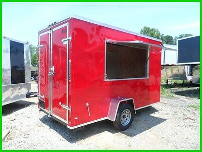 2 v nose 6x12 enclosed cargo vending concession trailer 3x6 serving window Red