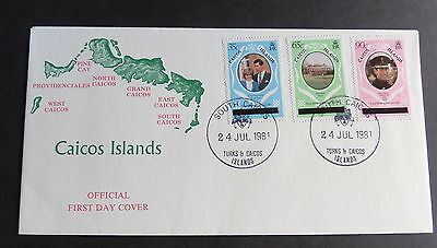 CAICOS 1981 Royal Wedding FDC First Day Cover Princess Diana Charles