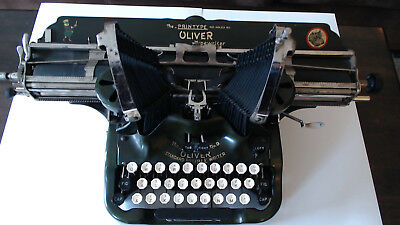 Vintage Oliver No 9 Manual Typewriter Rare Wide Carriage Works Good Paint