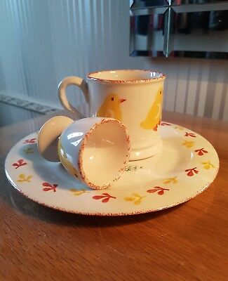 "●Hand Decorated Laura Ashley 3 Piece Breakfast Set Hens ""free Postage"""