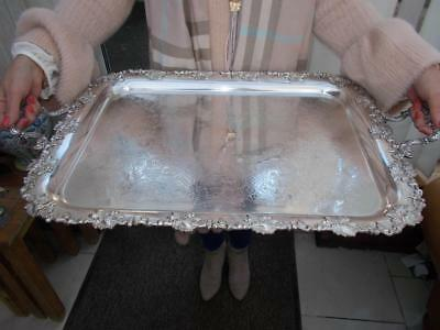 Superb Large Victorian Antique Butlers Gallery Serving Tray In Lovely Condition
