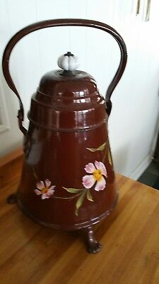 Rare Large Ant/ Vintage French Enamel Water Jug* Footed *handpainted  Flowers