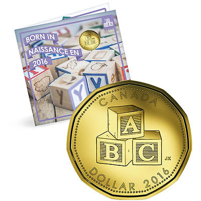 2016 $1 Canada Baby Gift Set ABC Building Blocks Loonie