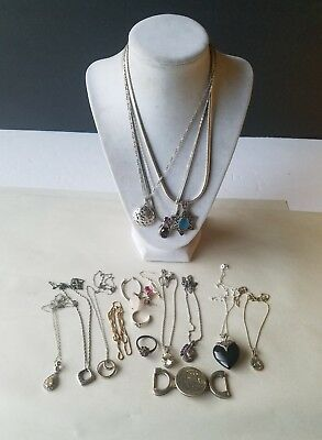 Vintage sterling silver jewelry  lot for scrap or wear. Necklaces,pendants 120g
