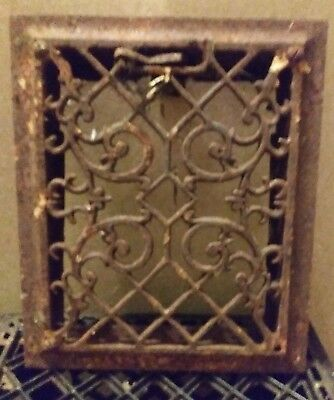 Antique cast iron Victorian style heat vent grate 9 3/4in x 11 3/4in