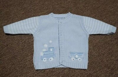 Baby Boy's Clothes: Next Train Baby Blue Cardigan 0-3 months