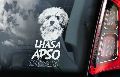 Lhasa Apso on Board - Car Window Sticker - Dog Sign Decal Art Gift Idea - V01