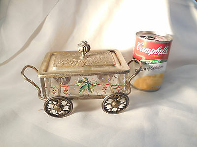 WMF Hand Painted Glass Relish Jelly Dish On Wheeled Cart With Lid 3 Piece