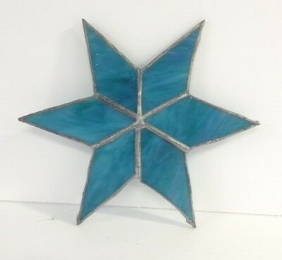 Vintage Artisan Blue Stained Glass Lead 6 Point Star Suncatcher Handmade