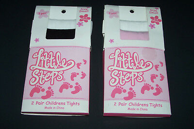2 pair Little Steps Childrens Tights BK & WT.. PINK & WT small 2 to 4 years new