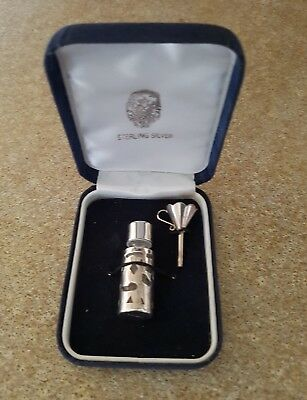 """●Boxed Stirling Silver Perfume Bottle & Funnel """"free Post"""""""