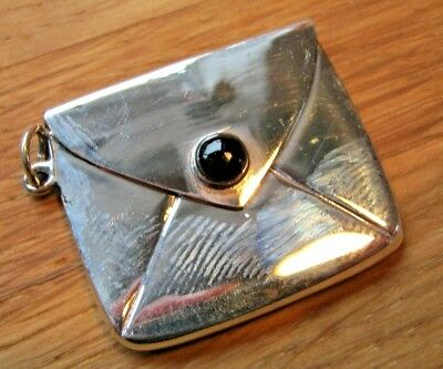 Birmingham HM Sterling Silver Arts & Crafts Style Stamp Case With Black Button