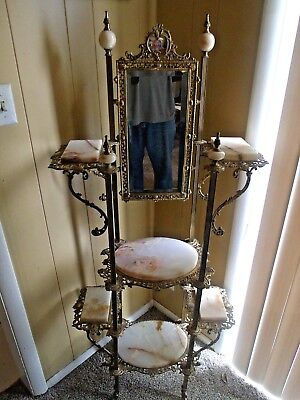 Outstanding Antique Victorian Brass and Onyx Etagere With  Vernis Martin Art