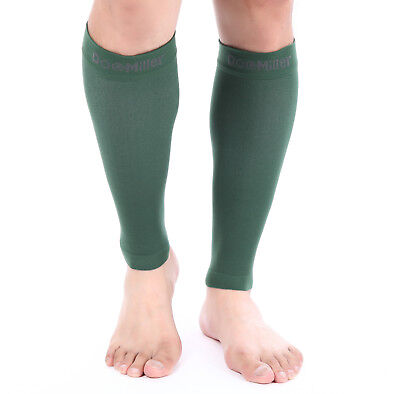 Doc Miller Calf Compression Sleeve 1Pair 20-30mmHg Recovery Varicose Veins DkGRN