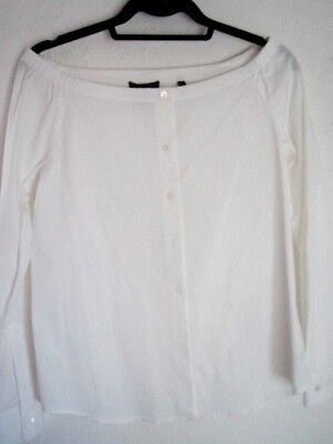 New Theory Sz.medium White Button Front-Off Shoulder Blouse