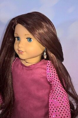 11-11.5 Custom Doll Wig fit Blythe-American Girl-1/4 Size Doll CHERRY BROWN bn3