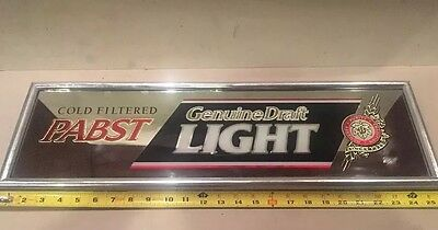 "Pabst Beer PBR Genuine Draft Light Mirror Advertising Sign 26"" By 8"" Unused 1992"