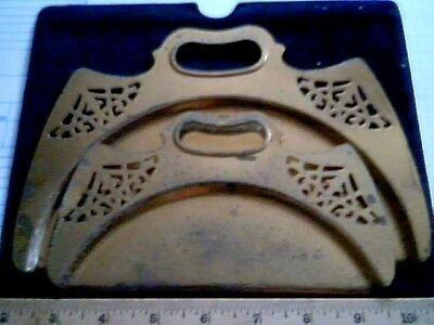 2 1920 Matching Solid Brass CRUMB TRAYS Art Nouveau antique vintage old table