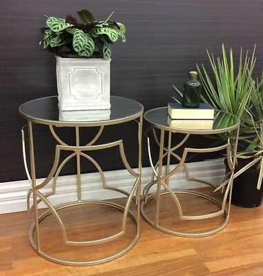 Lucas Set Of 2 Round Coffee Side Table W/ Mirror Top Hallway Hall Champagne