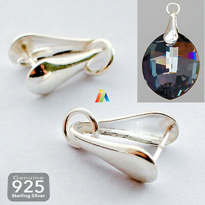 925 STERLING SILVER 12mm PENDANT PINCH BAILS WITH RING LOOP Fit Crystal NECKLACE