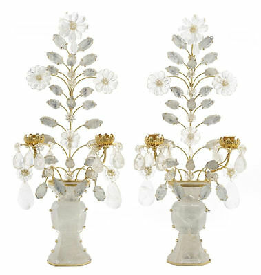 Pair Modern Rock Crystal and Gilt Metal Sconces French Chinoiserie Bagues Style