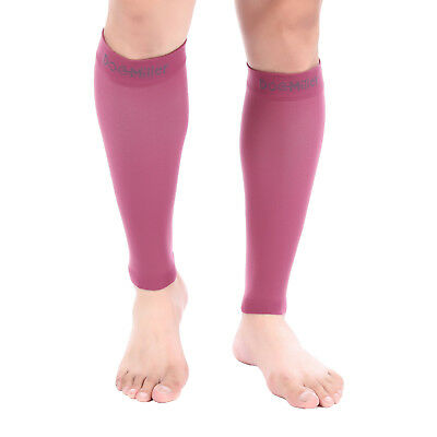 Doc Miller Calf Compression Sleeve 1Pair 20-30mmHg Recovery Varicose Vein MAROON