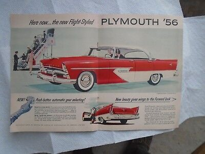 K6 1956 Plymouth Belvedere V8 4dr hardtop 2 page Print magazine ad advertisement