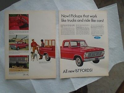 N3 1967 Ford Pickup truck 2 page magazine print ad advertisement