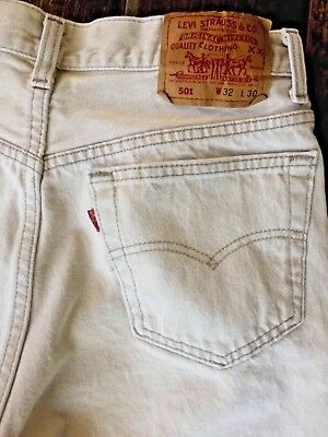 Vintage Men's Levi's 501 Beige Cream Jean Made in USA Tag 32x30 MEASURES 30x27