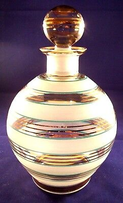 Vintage Clear / Frosted Glass Liquor Decanter With Gold & Aqua Stripes
