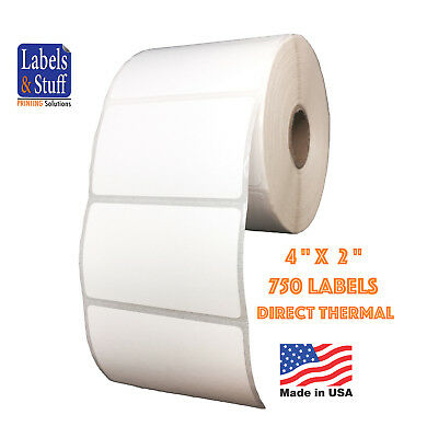 "2 Rolls 750 Labels 4x2 on 1"" core Direct Thermal Zebra Eltron Labels 4"" x 2"""