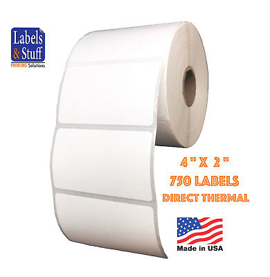 "8 Rolls 750 Labels 4x2 on 1"" core Direct Thermal Zebra Eltron Labels 4"" x 2"""