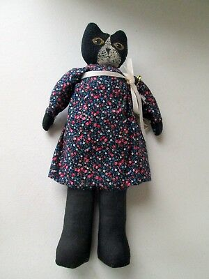 "Vintage STUFFED CAT DOLL  Handmade, Painted Face, Bloomers, Dress 11.5"" Tall"