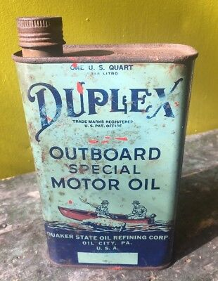 VINTAGE QUAKER STATE DUPLEX BRAND 1 QT OUTBOARD MOTOR OIL CAN Nice Graphics
