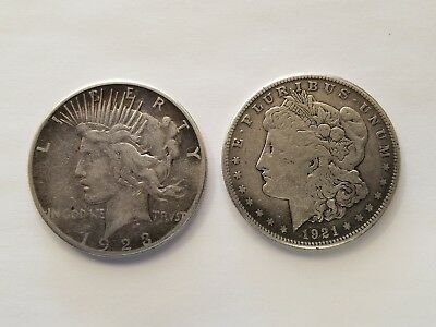 One 1923 S Peace Dollar & One 1921 S Morgan Silver Coins