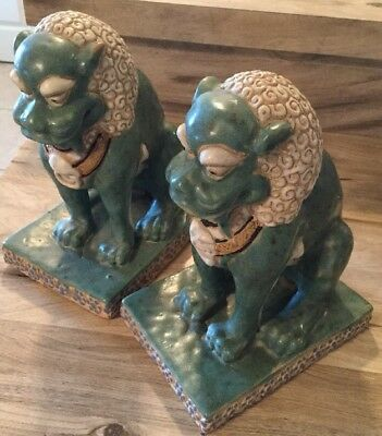 "Vintage Vietnamese Foo Dog Guardian Protection Lions Pair Blue Green 9""X 7"""