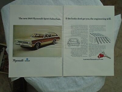 W5 1969 Plymouth Sport Suburban Station wagon magazine print ad advertisement