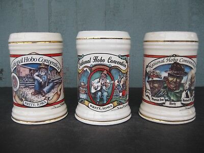 Complete Set of 3 Anheuser-Busch Budweiser National Hobo Convention Steins