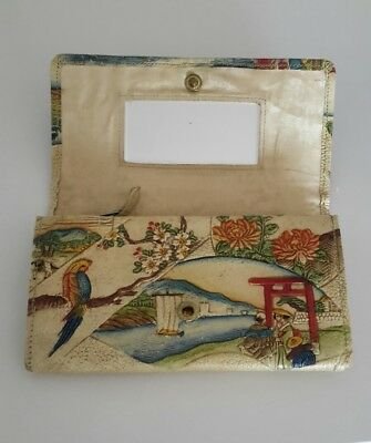 ANTIQUE JAPANESE leather clutch wallet Handpainted  Mt Fuji + vintage coin purse