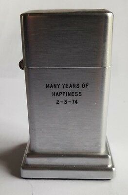 1970s  Vintage Zippo Barcroft Lighter table top 4th model brushed chrome Ex