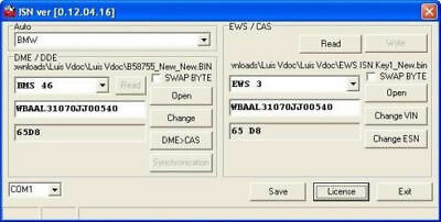 FOR BMW MINI ROVER ISN Synchronisation Software Synchro DME DDE EWS CAS +