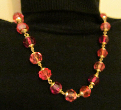 Vintage Necklace Pink Plastic Faceted Beads Gold Accents Single Strand Hong Kong