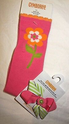 NWT GYMBOREE 3-4 spring knee sock flower & hair bow lime pink hairbow