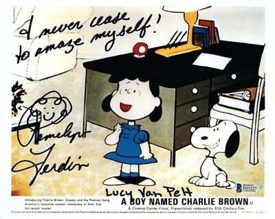 PAMELYN FERDIN SIGNED 8x10 PHOTO VOICE OF LUCY CHARLIE BROWN BECKETT BAS